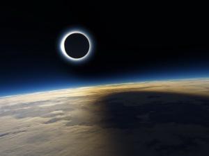 Солнечное затмение из космоса.